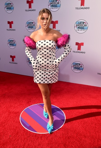 "2019 LATIN AMERICAN MUSIC AWARDS -- ""Red Carpet"" -- Pictured: Sofia Reyes at the Dolby Theatre in Hollywood, CA on October 17, 2019 -- (Photo by: Alberto Rodriguez/Telemundo)"