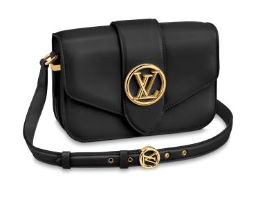 LVPont 9 shoulder bag in Noir calf leather