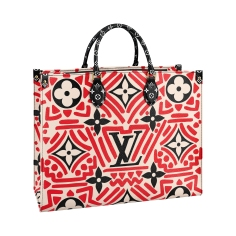 OnTheGo tote LV Crafty cream _ red, in Monogram coated canvas